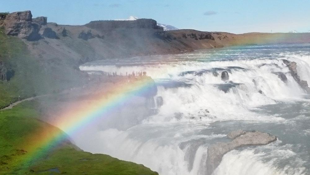 Gullfoss Golden-waterfall Golden circle people