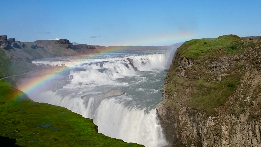 Gullfoss Golden-waterfall with rainbow sunny day