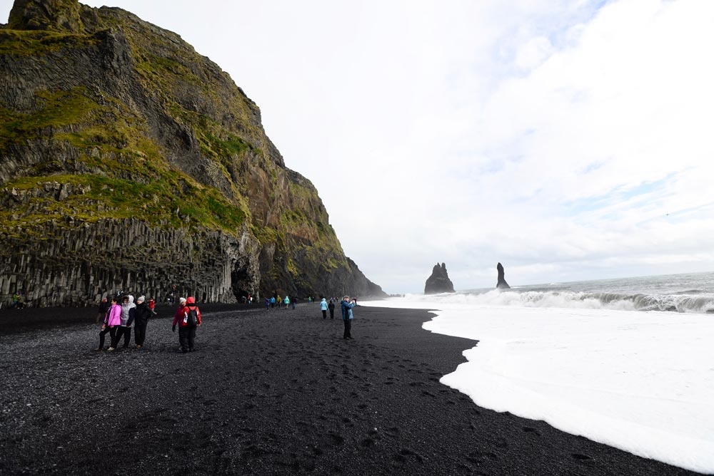 Reynisfjara black sand beach and rough sea